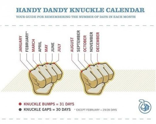 How to remember number of days in each month with your knuckles