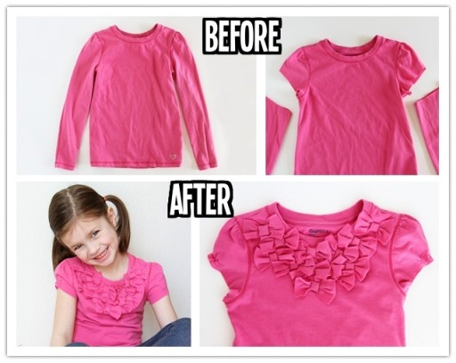 How to turn long sleeves into shorts with added bow front step by step DIY tutorial instructions thumb