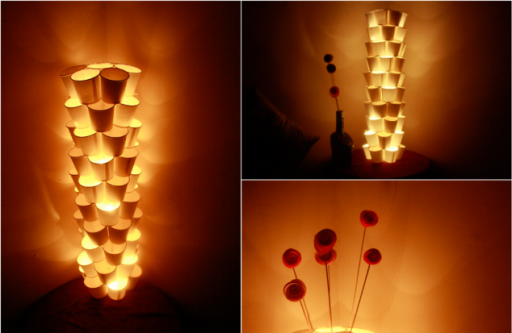 how to make cool DIY cup tower lamps with recycled paper cups step by step tutorial instructions thumb
