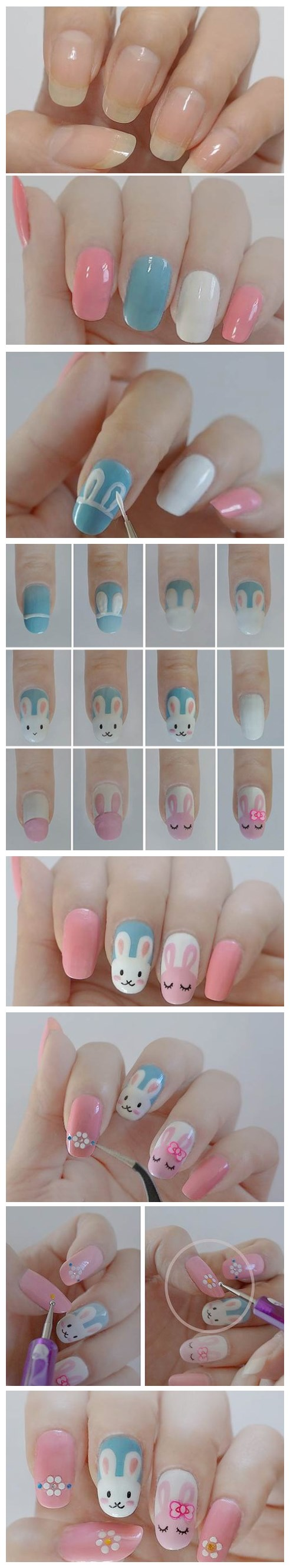 how to make cute DIY Easter bunny nail polish manicure design step by step DIY tutorial instruction