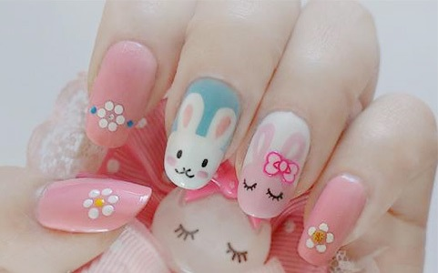 how to make cute DIY Easter bunny nail polish manicure design step by step DIY tutorial instructions thumb