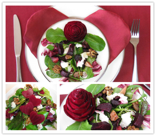 how to make romantic DIY beet salad with carved rose for Valentine's Day step by step tutorial instructions and recipe