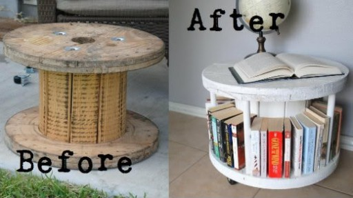 how to turn an old cable spool into a cool coffee table and bookcase step by step DIY tutorial instructions