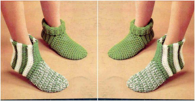 Knitting Socks Tutorial : How to crochet diy slipper socks step by tutorial
