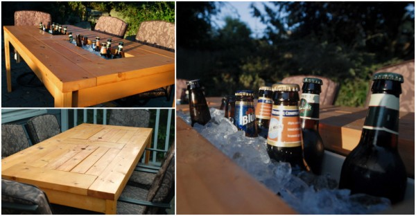 DIY Patio Table With Built-in Beverage Cooler