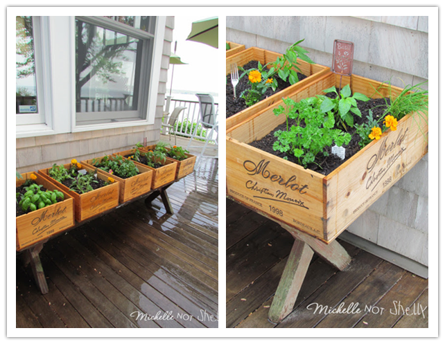 How to build a herb garden with wine crates for your deck for How do you build a deck yourself