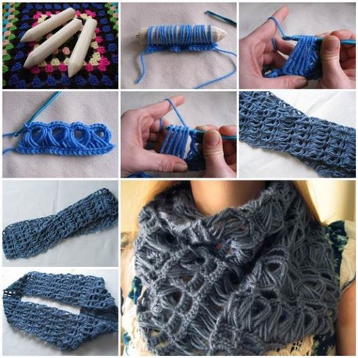 How to crochet stylish broomstick lace scarf step by step DIY tutorial instructions