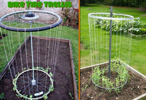 How to make DIY bike rim trellis step by step tutorial instructions