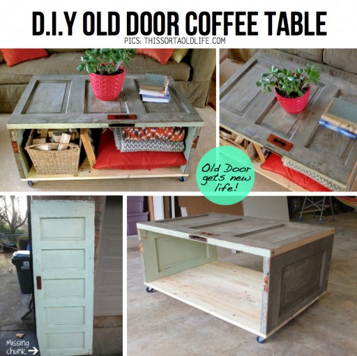 How to make DIY salvaged door coffee table step by step tutorial instructions