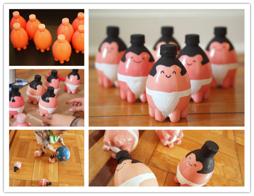 How to make DIY sumo wrestler bowling pins with plastic bottles step by step tutorial instructions