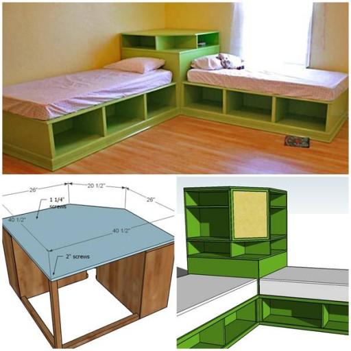 How to make DIY twin corner bed with storage step by step tutorial instructions