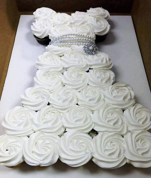 How to make DIY wedding dress cupcake cake step by step tutorial instructions