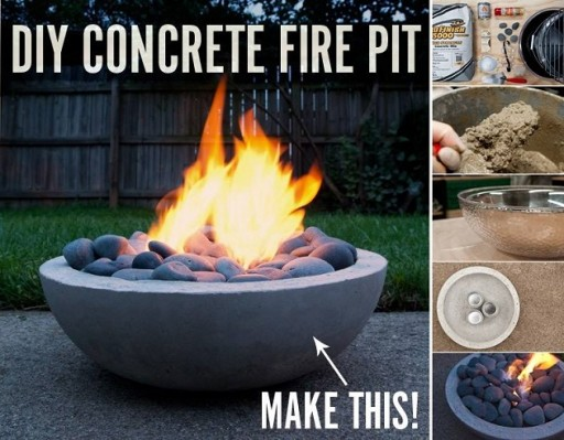 How to make a DIY concrete fire pit step by step tutorial instructions