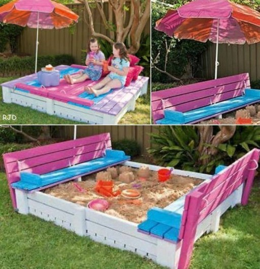 How to make a DIY covered sandpit and seet step by step tutorial instructions