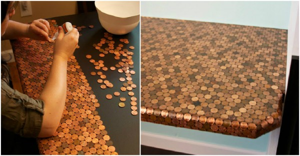 How to make a DIY penny tiled desk