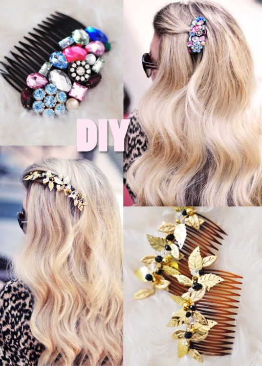 How to make beautiful DIY bejeweled hair combs step by step tutorial instructions