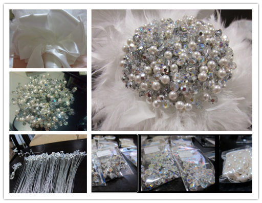 How to make beautiful DIY crystal & pearl bouquet step by step tutorial instructions