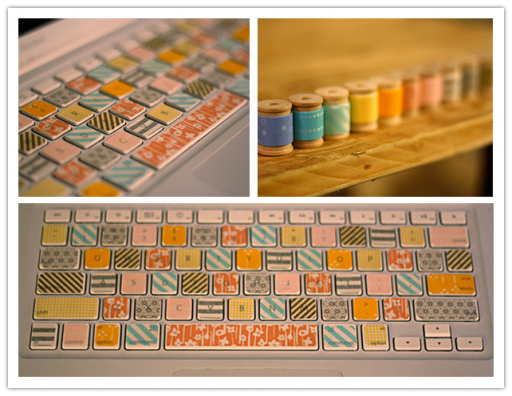 How to make beautiful DIY washi tape laptop keyboard makeover step by step tutorial instructions