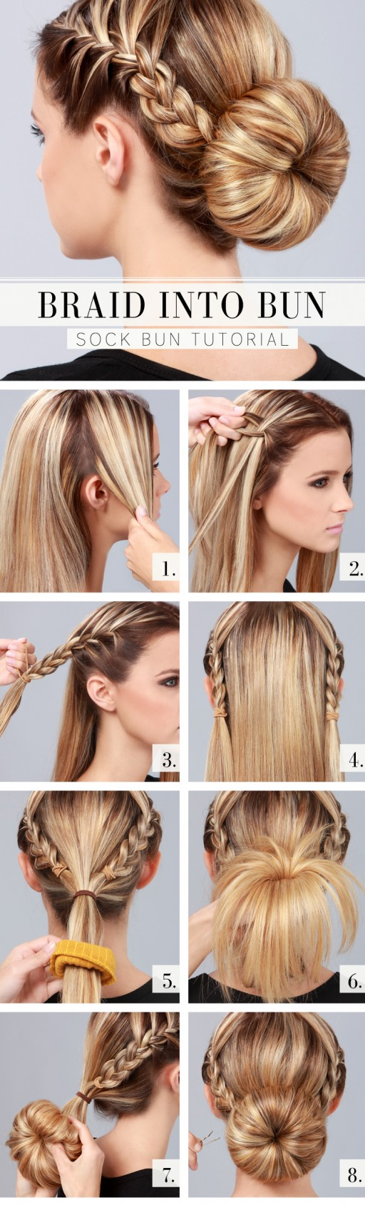 How to make gorgeous braid into bun hair style step by step DIY tutorial instructions