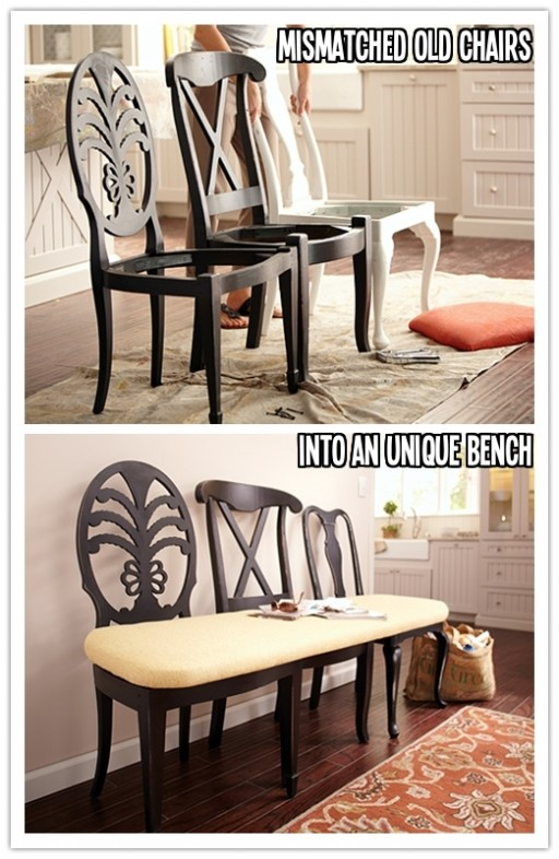 How to repurpose old chairs into a bench step by step DIY tutorial instructions
