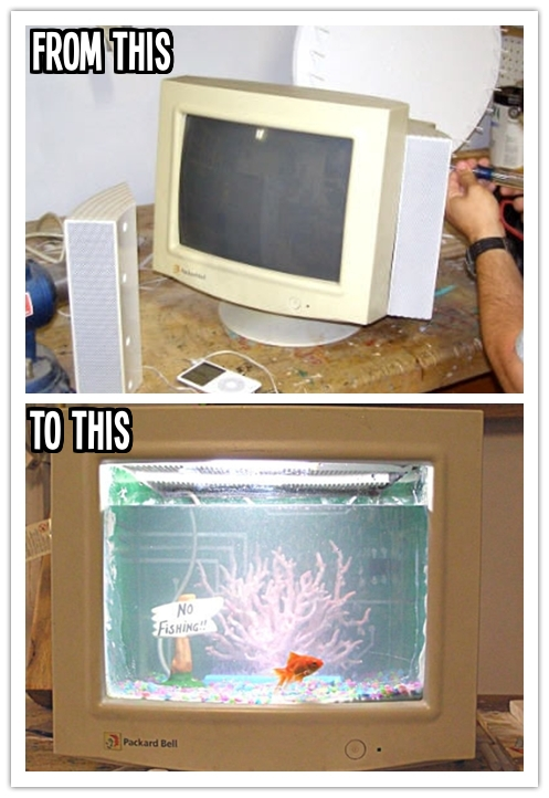 How to turn an old CRT computer monitor into a fish tank step by step DIY tutorial instructions