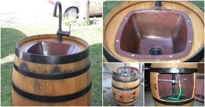 Wine Barrel Outdoor Sink