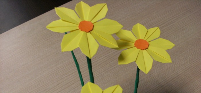 How To Make Pretty Paper Craft Origami Yellow Flower Step