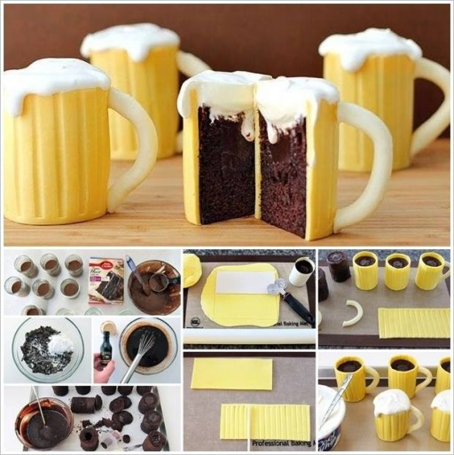 Cake decorating class - How to make DIY beer mug cupcakes step by step tutorial instructions & recipe