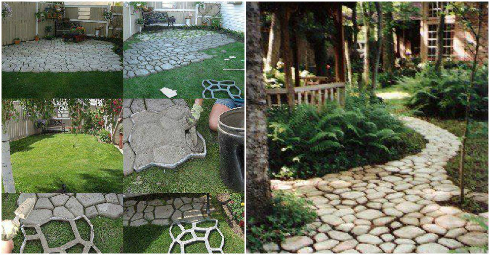 Garden path diy images galleries with for Cement garden paths