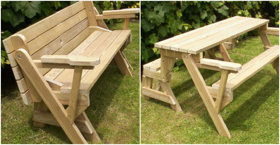 ... build a DIY 2-in-1 convertible folding bench and picnic table combo 2