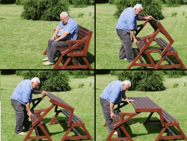 How to build a DIY 2-in-1 convertible folding bench and picnic table combo