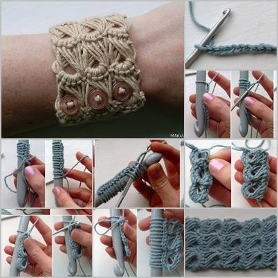 How to crochet DIY broomstick lace bracelet step by step tutorial instructions