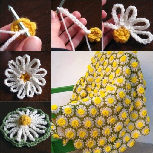 How to crochet vintage daisy motif step by step DIY tutorial instructions