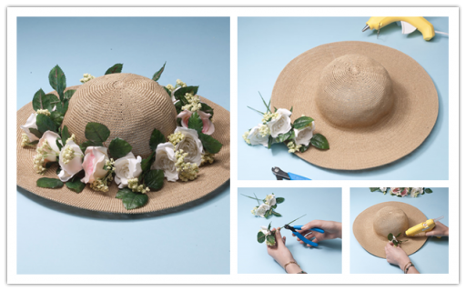 How to decorate pretty floral sun hat step by step DIY tutorial instructions