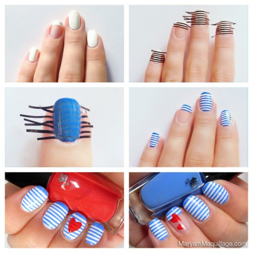 Diy Sailor Stripes Nail Art Manicure How To Instructions