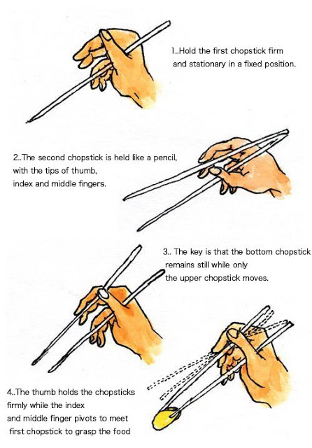 How to hold and use chopsticks the right way step by step DIY tutorial instructions