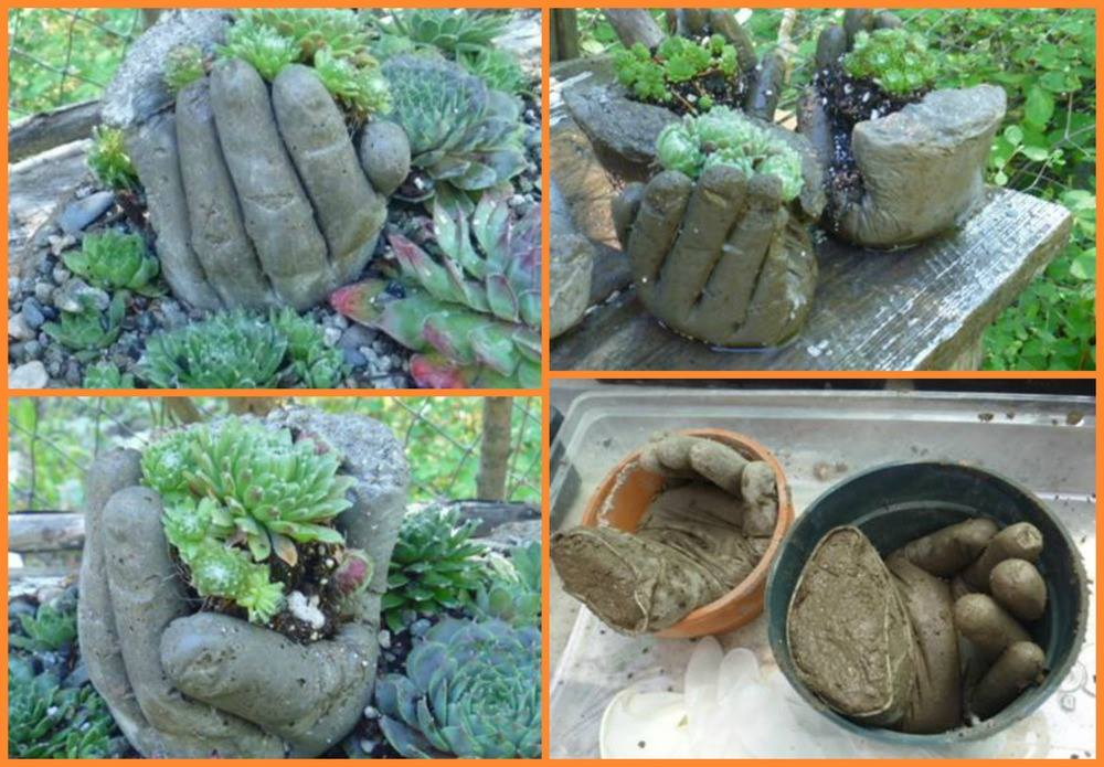 How to make DIY hypertufa concrete hand garden planters