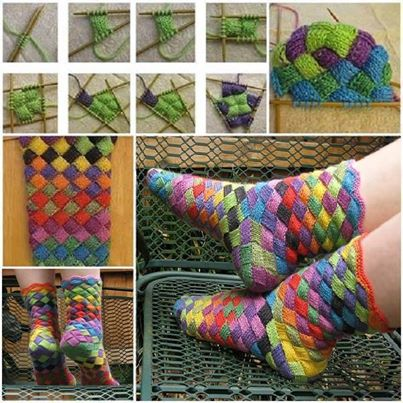 How to make DIY knitting entrelac socks step by step tutorial instructions