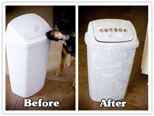 How to make DIY newspaper trash can makeover