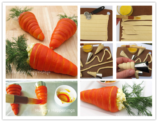 How to make DIY stuffed carrot crescents step by step tutorial instructions