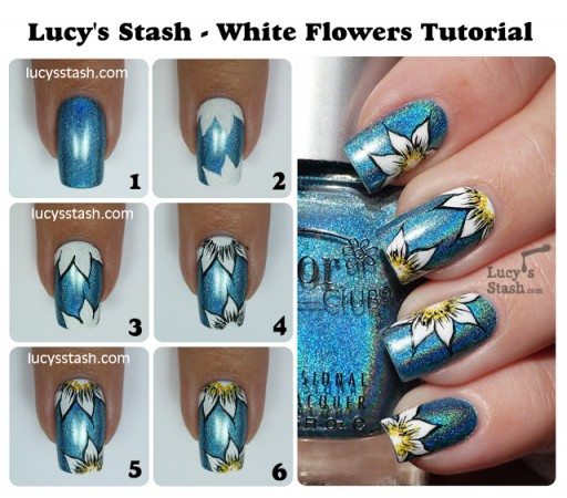 How to make DIY white flower nail art manicure step by step tutorial instructions