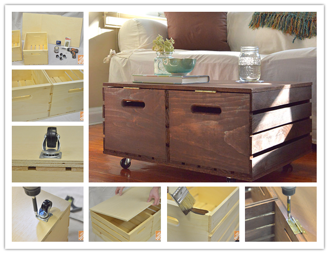 How to make diy wooden crate storage ottoman step by step for How to build an ottoman with storage