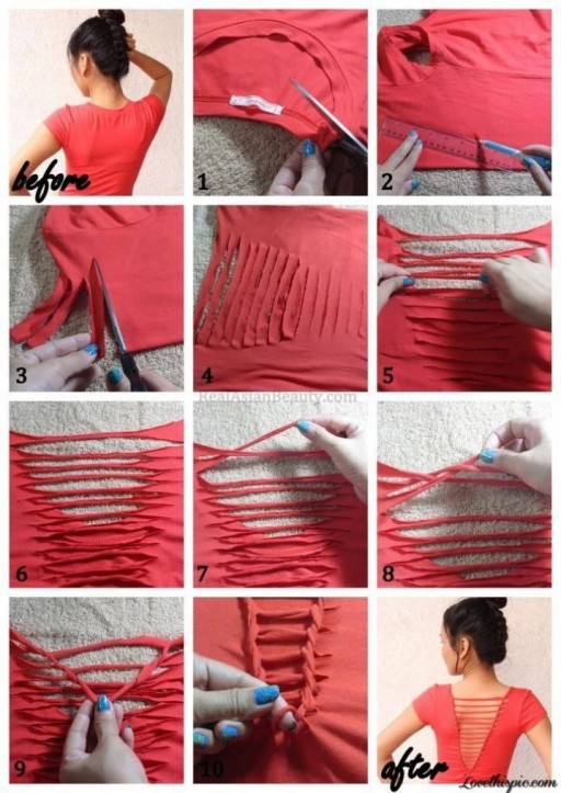 How to re-fashion an old t-shirt step by step DIY tutorial instructions