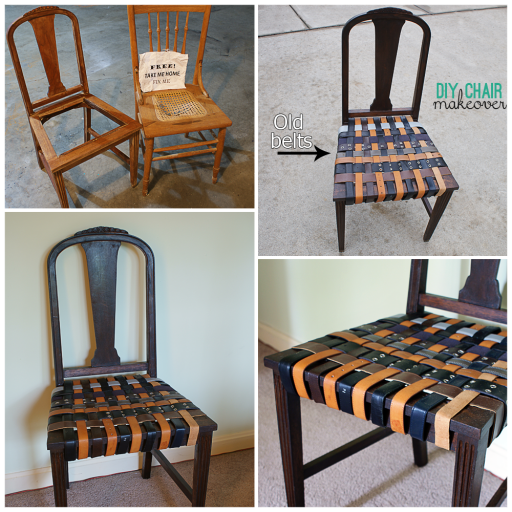 How to renovate an old chair with belts step by step DIY tutorial instructions
