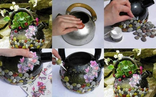 How to turn a kettle into a lovely flower pot step by step DIY tutorial instructions