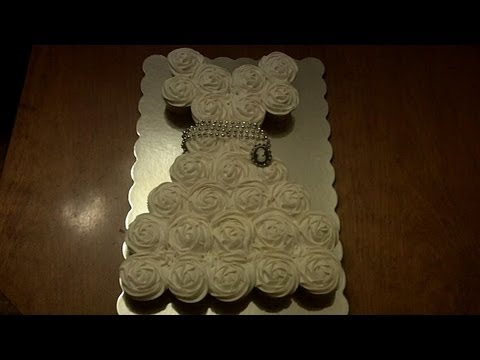 How To Make DIY Wedding Dress Cupcake Cake Step By Step Tutorial Instructions How To Instructions