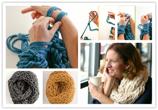 How to make DIY arm knitting scarves step by step tutorial instructions