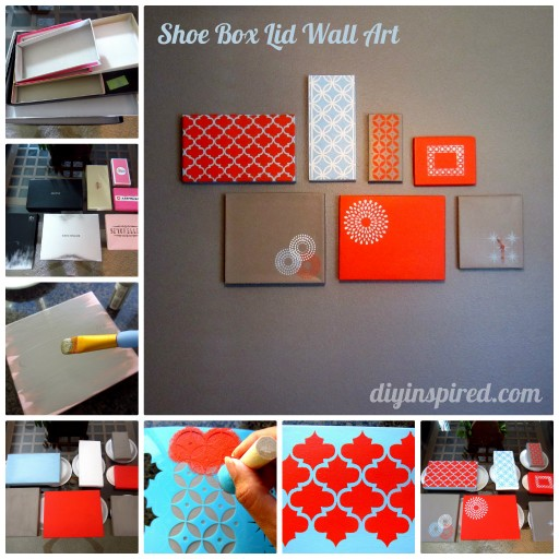 How to make DIY shoe box lid wall art decoration step by step tutorial instructions