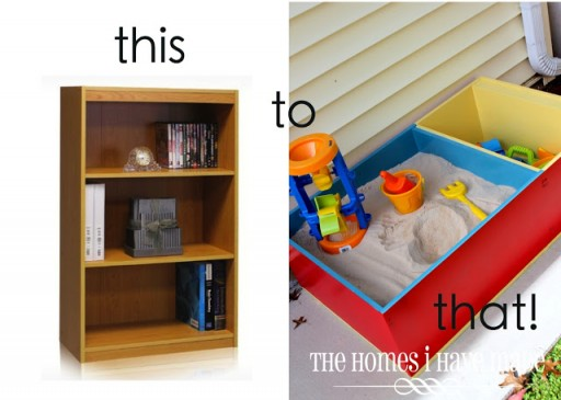 How to turn a book case into a sandbox