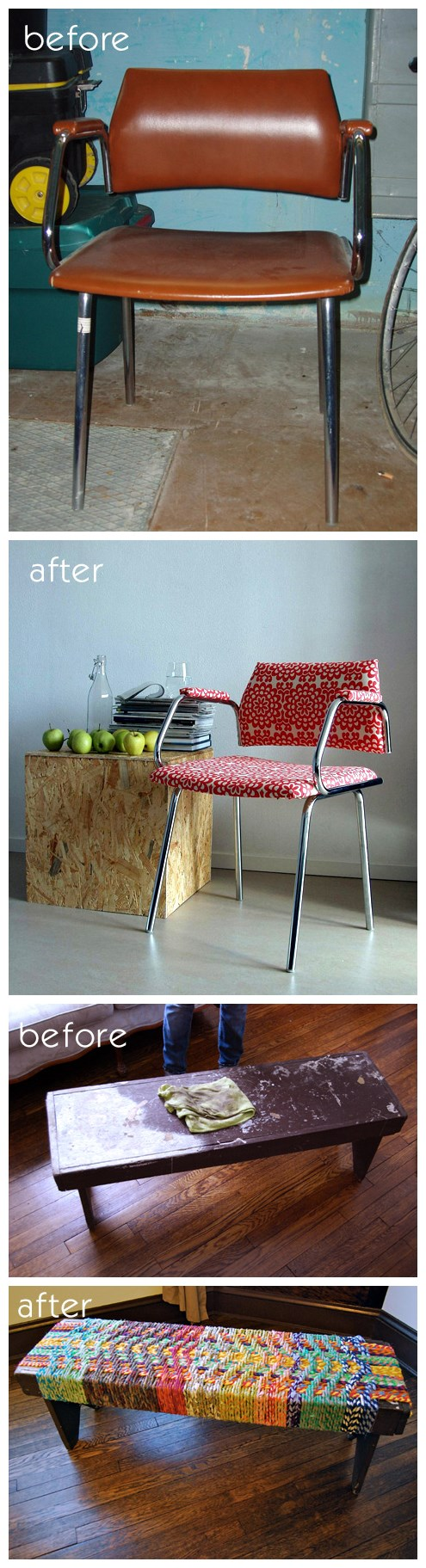 DIY chair makeover and rope bench tutorial instructions 2
